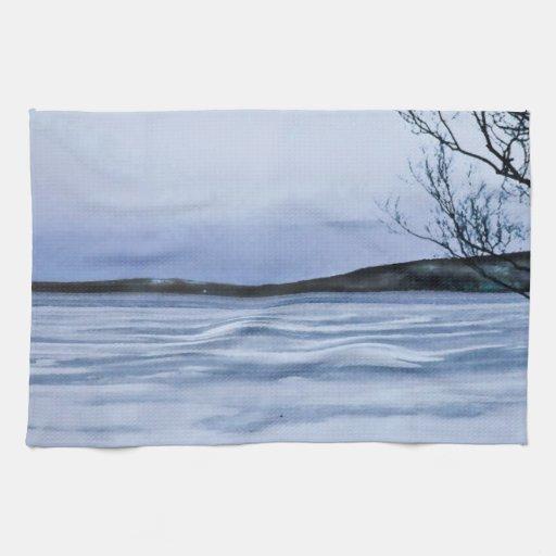 Lago congelado toallas de mano