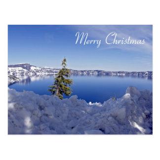 Lago crater en el invierno - Felices Navidad Postal