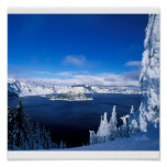 Lago crater en el invierno Oregon Poster