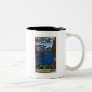 Lago crater - poster informativo taza de café