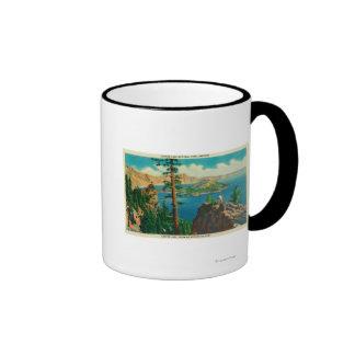 Lago crater que muestra la isla del mago en distan tazas de café