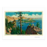 Lago crater que muestra la isla del mago en tarjetas postales