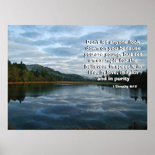 Lago dawn llamado por la impresión de dios poster