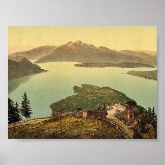 Lago de los cuatro cantones Pilatus vin de Suiza Posters