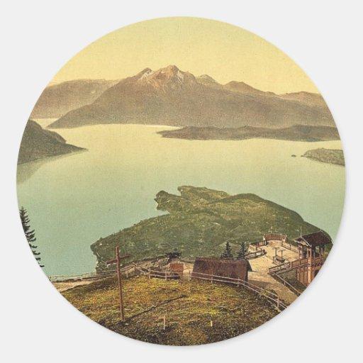 Lago de los cuatro cantones, Pilatus, vin de Suiza Etiquetas Redondas