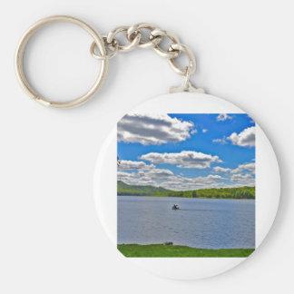 Lago de relajación llavero redondo tipo pin