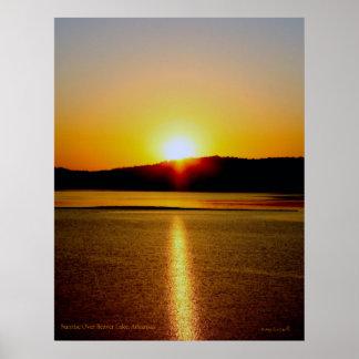 lago del castor de la salida del sol póster