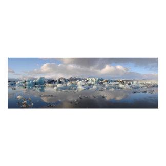 Lago del glaciar de Jokulsarlon en la impresión de Fotografía