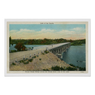 Lago del Ozarks, puente magnífico vintage de Glaiz Posters