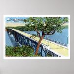 Lago del Ozarks, puente vintage de cubierta de hur Poster