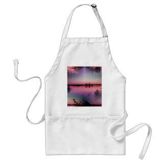 lago del paisaje en la puesta del sol delantal