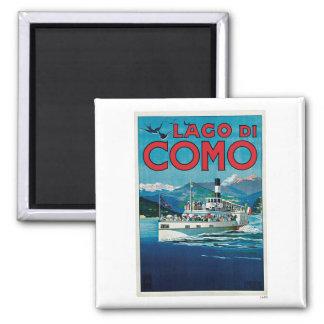 Lago Di Como Italy Vintage Travel 2 Inch Square Magnet