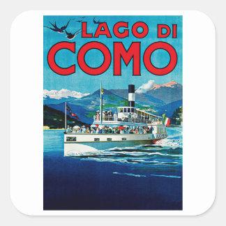 Lago di Como Calcomanías Cuadradass Personalizadas