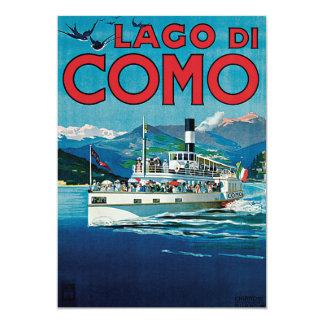 """Lago Di Como Vintage Travel Poster 5"""" X 7"""" Invitation Card"""