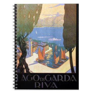 Lago di Garda Lake Garda Vintage Poster Restored Notebook