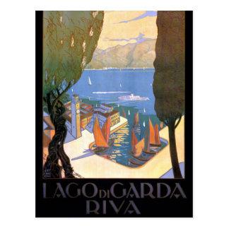 Lago di Garda Lake Garda Vintage Poster Restored Postcard