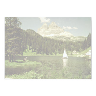 "Lago di Misurina and Lavaredo Peaks, Dolomites, It 5"" X 7"" Invitation Card"
