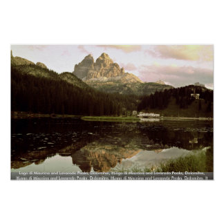Lago di Misurina and Lavaredo Peaks, Dolomites, It Print