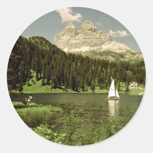 Lago di Misurina and Lavaredo Peaks, Dolomites, It Stickers