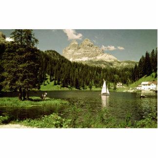 Lago di Misurina y picos de Lavaredo dolomías él Escultura Fotografica