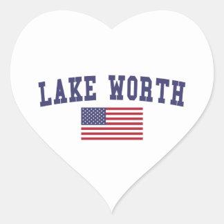 Lago digno de bandera de los E.E.U.U. Pegatina En Forma De Corazón