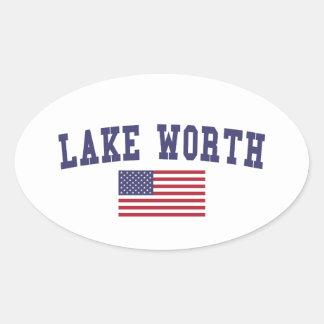 Lago digno de bandera de los E.E.U.U. Pegatina Ovalada