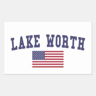 Lago digno de bandera de los E.E.U.U. Pegatina Rectangular