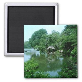 Lago en Central Park Imán Cuadrado