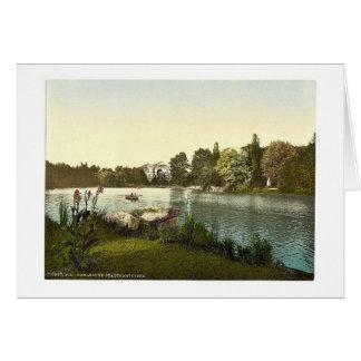 Lago en el jardín público, Karlsruhe, Baden, Alema Felicitaciones