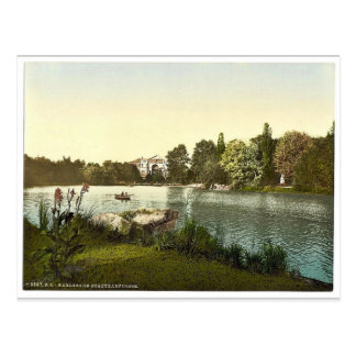 Lago en el jardín público Karlsruhe Baden Alema Postal