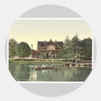 Lago en el parque, Bremen, Alemania Phot magnífico Pegatina Redonda