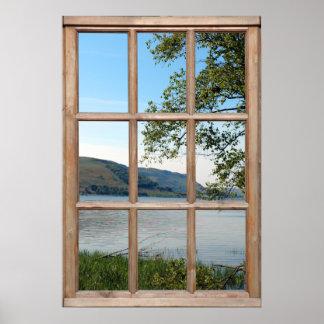 Lago en Escocia de una ventana Poster