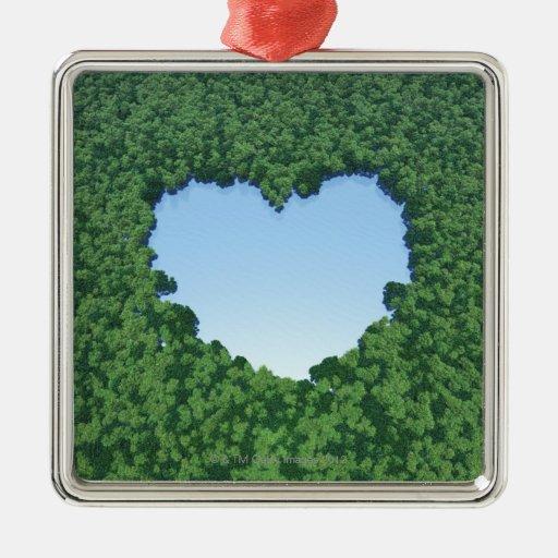 Lago en forma de corazón adorno navideño cuadrado de metal