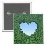 Lago en forma de corazón pin cuadrado
