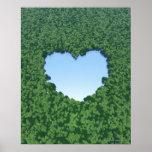 Lago en forma de corazón póster