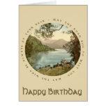 Lago en tarjeta del feliz cumpleaños del vintage d