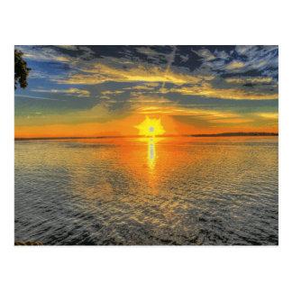 Lago escénico hermoso sunset de Wisconsin Tarjetas Postales