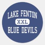 Lago Fenton - diablos azules - alto - tilo Etiquetas Redondas