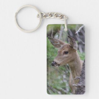 Lago Fishercap del retrato de los ciervos de la Llavero Rectangular Acrílico A Doble Cara