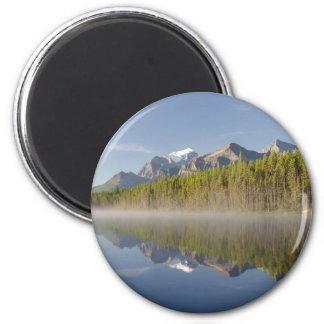 Lago herbert en la ruta verde Alberta Canadá de Ic Imán Redondo 5 Cm