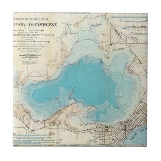 Lago hidrográfico Mendota del mapa Azulejo Cuadrado Pequeño
