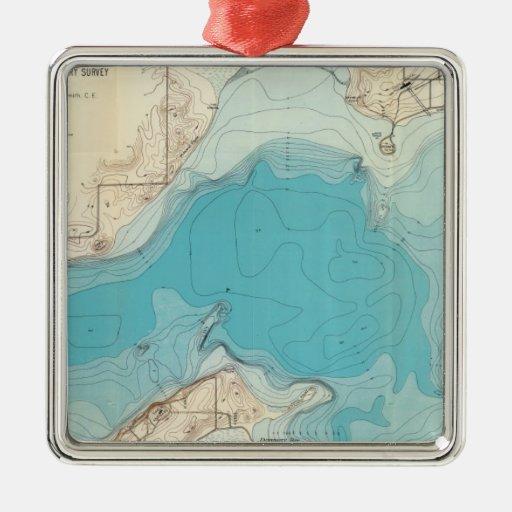 Lago hidrográfico Mendota del mapa Adorno Cuadrado Plateado