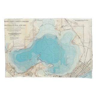 Lago hidrográfico Mendota del mapa Funda De Cojín