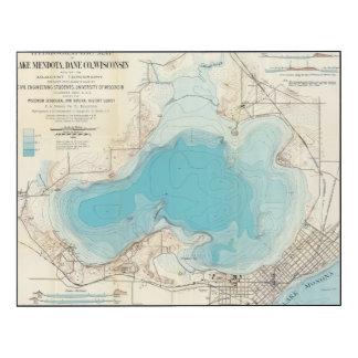 Lago hidrográfico Mendota del mapa Impresión En Madera