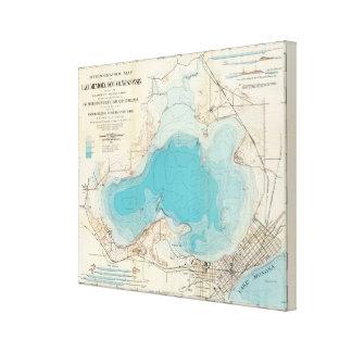 Lago hidrográfico Mendota del mapa Impresion De Lienzo