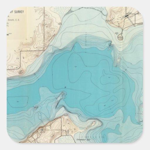 Lago hidrográfico Mendota del mapa Pegatina Cuadrada