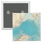 Lago hidrográfico Mendota del mapa Pin Cuadrada 5 Cm
