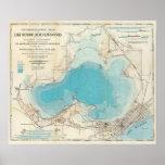 Lago hidrográfico Mendota del mapa Póster