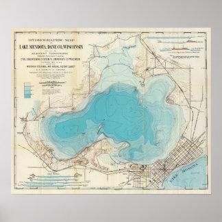Lago hidrográfico Mendota del mapa Posters