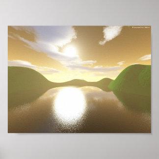 Lago hillside póster